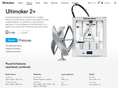 Ultimaker 2+ product page
